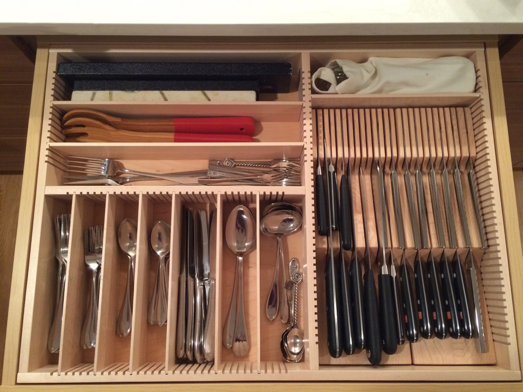 large flatware kitchen drawer with knife block
