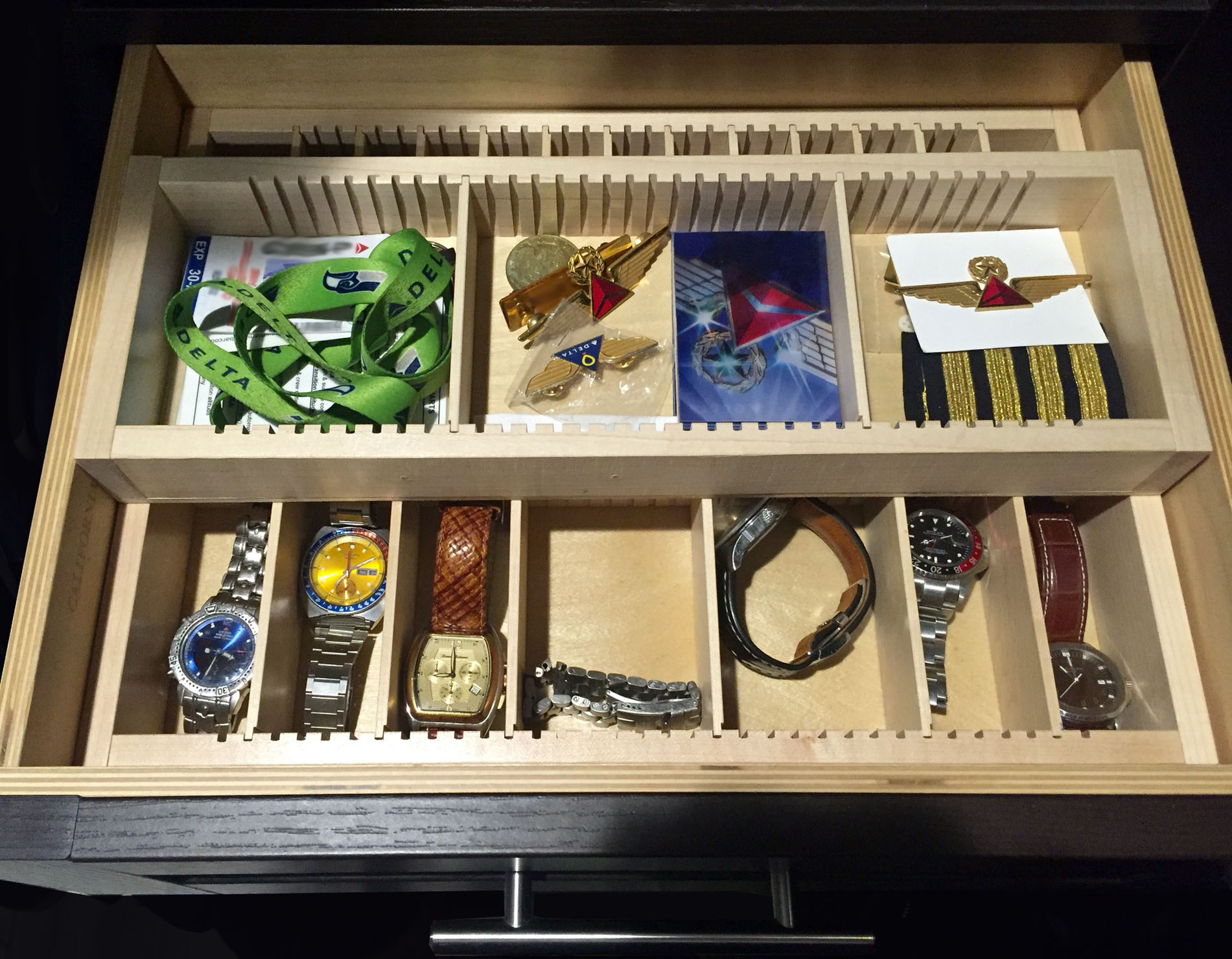 two stacked maple insert valet drawer organizer