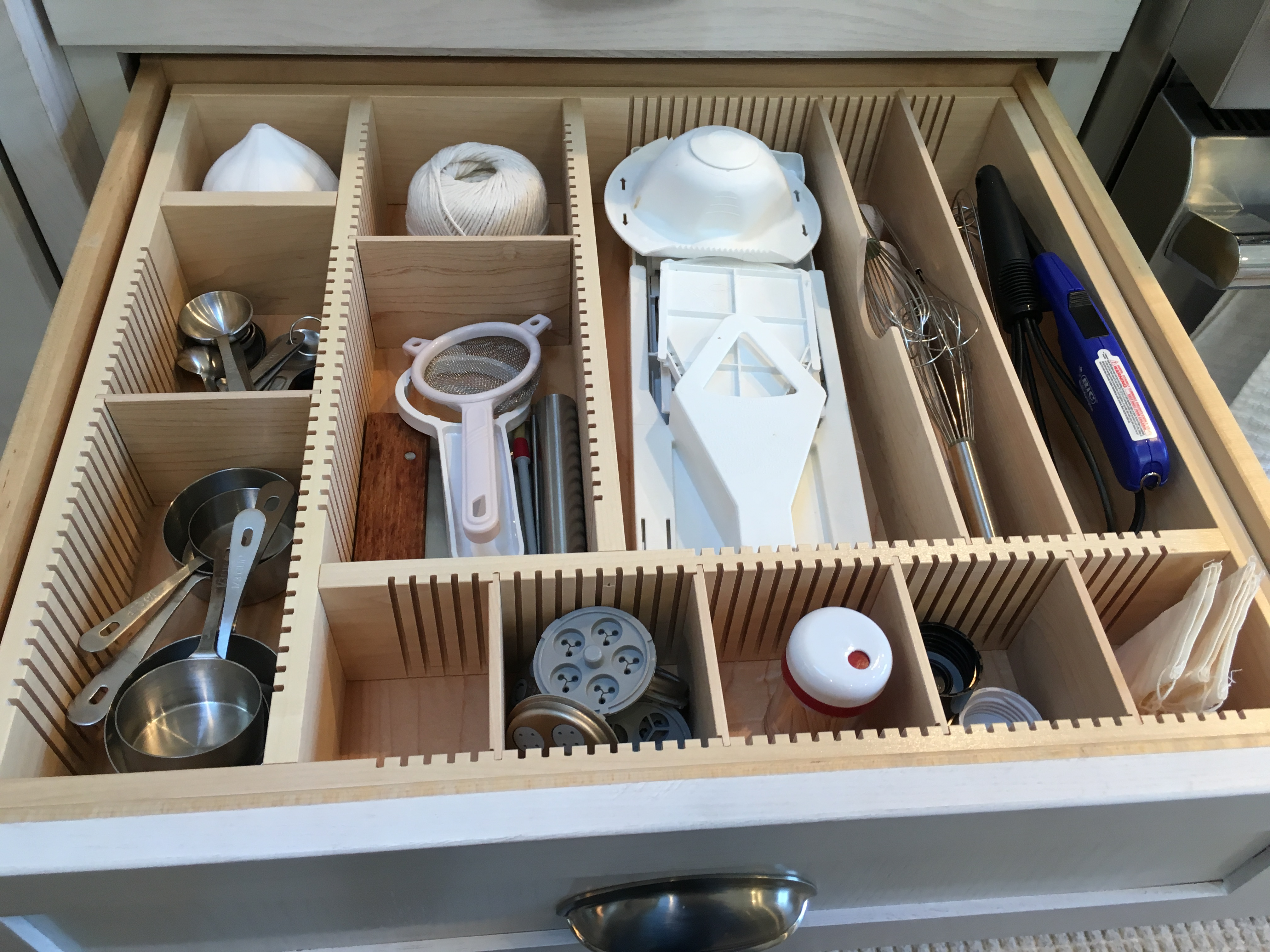 maple utensil drawer with adjustable dividers