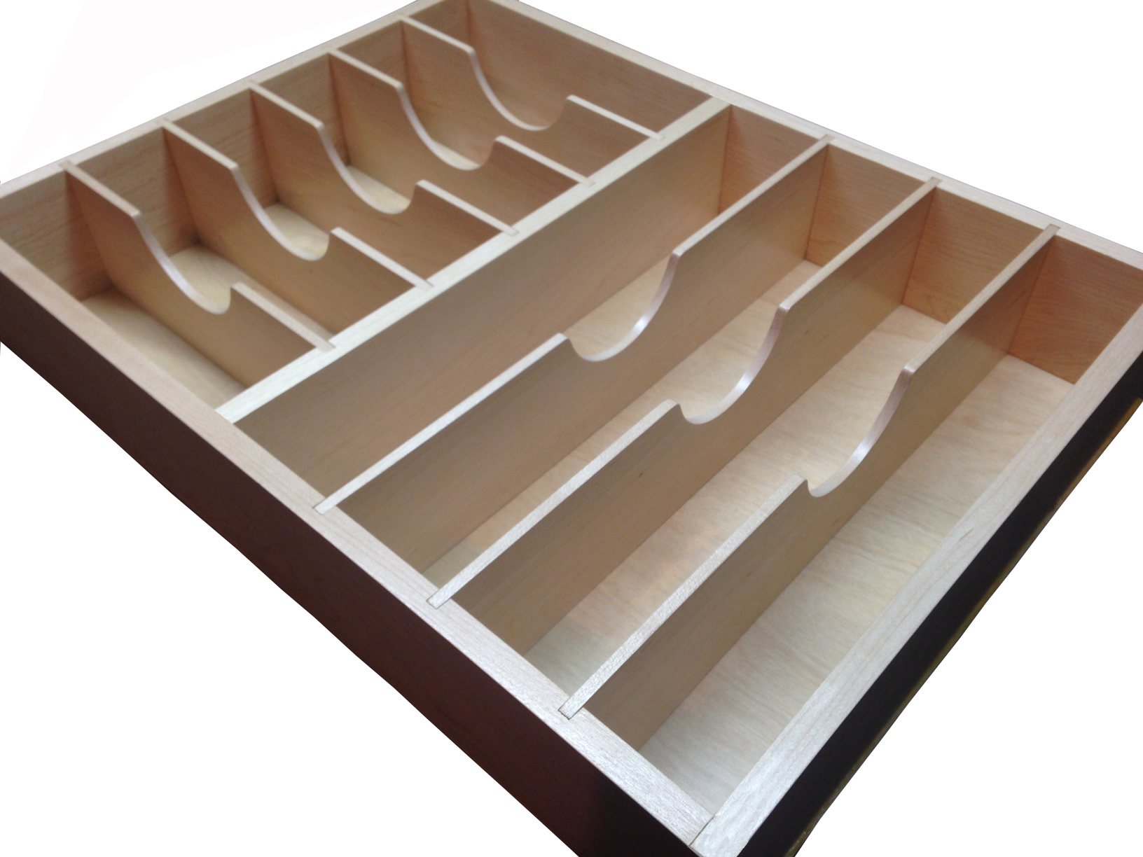 custom maple drawer insert with targeted dividers