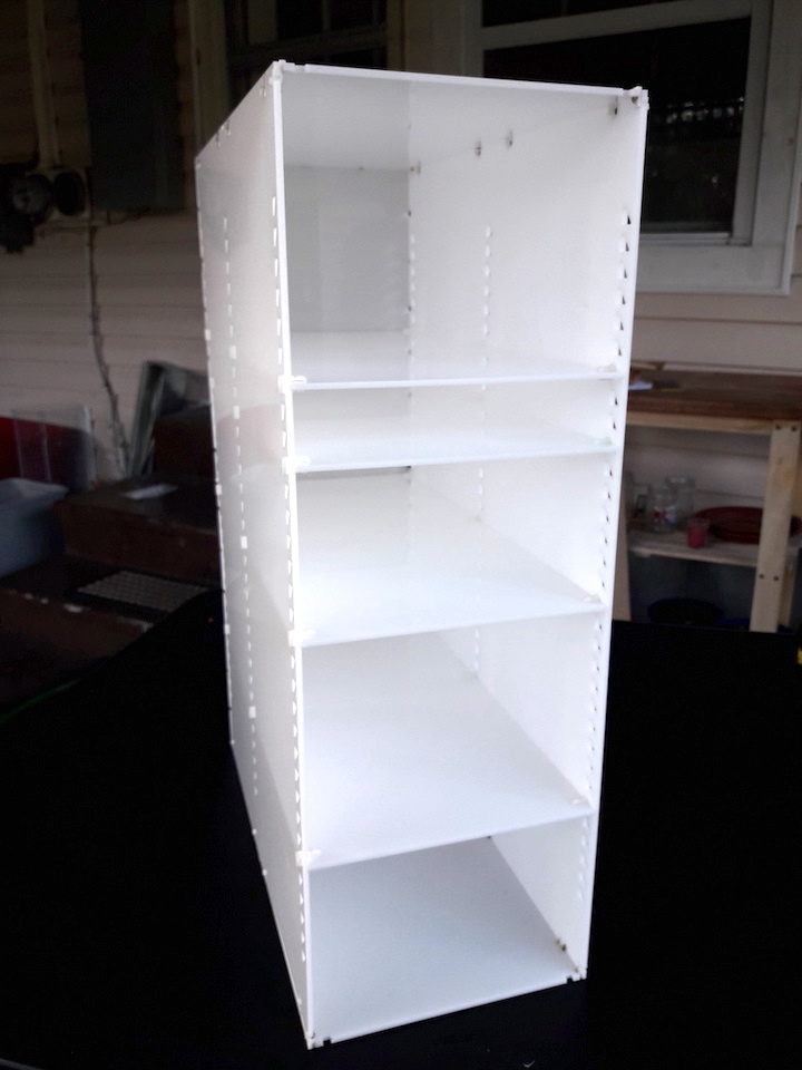 custom acrylic cabinet with adjustable shelves